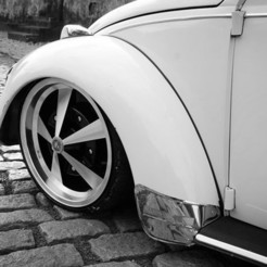 vw-fusca-escarabajo-aro17-01.jpg Download STL file VW SCARABAJO Wheel and Tires for diecast and RC model 1/64 1/43 1/24 1/18 • 3D printing design, BlackBox