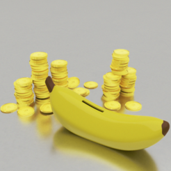 b00.png Download STL file Banana Coin Bank - piggy bank • 3D printer template, BlackBox