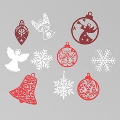 ornaments.JPG Download STL file Christmas Ornaments Pack x10 ! • Template to 3D print, Igbras