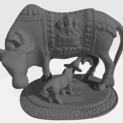 019.Nandi_With_Calf_SQf.png Download free STL file Sacred Cow with Calf • 3D print design, ScanHinduHeritage