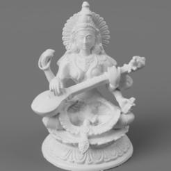 F016.Saraswati_Large_brass_SQ_2020-Nov-15_11-49-05AM-000_CustomizedView14996858232.png Download free STL file Saraswati - Goddess of Knowledge, Music & Art • 3D printer object, ScanHinduHeritage