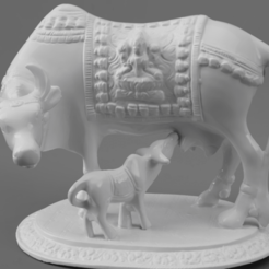 F019.Nandi_With_Calf_SQ2_2020-Nov-15_07-01-52AM-000_CustomizedView19009872028.png Download free STL file Sacred Cow with Calf • 3D print design, ScanHinduHeritage