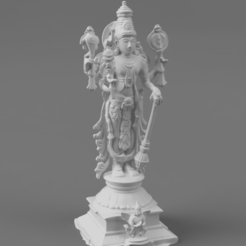 F045.Tall_Vishnu_SQ_2020-Nov-16_02-32-29AM-000_CustomizedView43069812674.png Download free STL file Vishnu the Preserver with Garuda (eagle) - Chola bronze style • Model to 3D print, ScanHinduHeritage