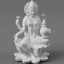 F025.Lakshmi_SMLBLK_SQ_2020-Nov-16_02-28-27AM-000_CustomizedView39754111199.png Télécharger fichier STL gratuit Lakshmi - Déesse de la fortune, sur un lotus • Objet à imprimer en 3D, ScanHinduHeritage