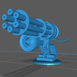 Gatling right.PNG Download free STL file Mounted Gatling Gun • Model to 3D print, gloomforge