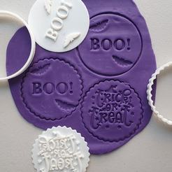 119704480_2798230513757418_33835045722897510_o.jpg Download STL file STAMP FOR SWEET FONDANT OR TRICK OR TREAT AND BOO FONDANT EMBOSER • 3D print object, Cookiescutters