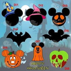 Sin título-1.jpg Download STL file Set of 8 HALLOWEEN DISNEY / WITCH DAY Cookie Cutters • 3D printable design, Cookiescutters
