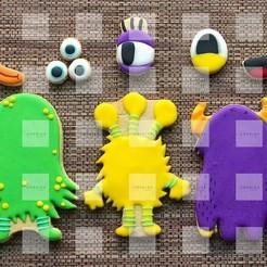 thumbnail_Photo_1603944612878.jpg Descargar archivo STL Set de 3 cortadores de Galleta de Monstruos / 3 Monsters Cookie Cutters Set • Modelo para la impresora 3D, Cookiescutters