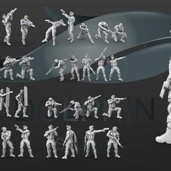 00.jpg Download STL file 38 Sci-fi soldier figure set • 3D printing model, DolphinStudio
