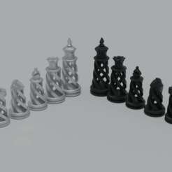 Chess7.png Download free STL file Spiral chess set • Design to 3D print, raiks