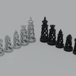 Chess7.png Télécharger fichier STL gratuit Jeu d'échecs en spirale • Design pour impression 3D, raiks