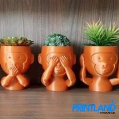 Screenshot_1.jpg Download STL file Flowerpots 3 Wise Monkeys • Template to 3D print, PrintLand