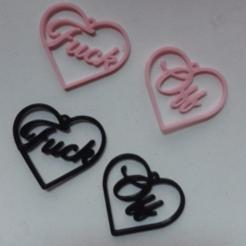 Screenshot_4.png Télécharger fichier STL Boucles d'oreilles en forme de coeur f*ck off • Modèle à imprimer en 3D, merjofre