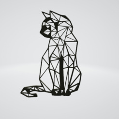 Cat sitting Wall Sculpture 2D.png Download OBJ file Cat sitting Wall Sculpture 2D • 3D printable model, Slashlist