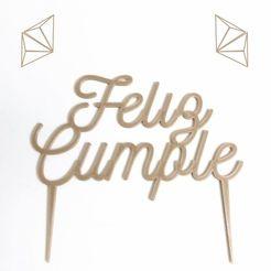 F.jpg Download STL file Topper Cake, cake decoration • Template to 3D print, Julietaamd