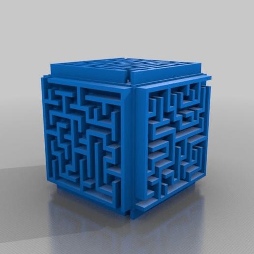 Télécharger fichier STL gratuit Boîte cube à labyrinthe aléatoire 50mm • Plan à imprimer en 3D, onebitpixel