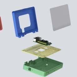 """exploded_view.JPG Télécharger fichier STL gratuit Rasptop ! Raspberry Pi Laptop avec écran tactile officiel de 7"""" de la Fondation Pi *Juste 5 pièces!* *Fichiers sources inclus* • Objet pour imprimante 3D, MorganLowe"""