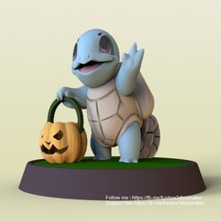 Squirtle pokemon halloween - cults1.jpg Download free STL file Squirtle With Pumpkin Pokemon Halloween • 3D printable template, FunBox3dtoy