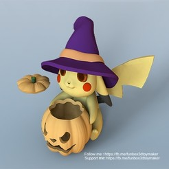 Pikachu pokemon halloween - cults 1.jpg Download free STL file Pikachu With Pumpkin Pokemon Halloween  • 3D printing object, FunBox3dtoy