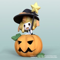 Halloween Jirachi poekmon -Cults1.jpg Download free STL file Jirachi With Pumpkin Pokemon - Halloween • 3D printer template, FunBox3dtoy