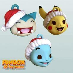 pokemon head -6.jpg Télécharger fichier STL Porte-clés de Noël Pikachu Snorlax et Squirtle Pokemon • Objet pour impression 3D, FunBox3dtoy