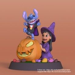 LiloStitch halloween -cults1.jpg Download STL file Lilo and Stitch With Pumpkin Halloween • Design to 3D print, FunBox3dtoy