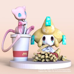 Mew and Jirachi Mac pokemon -cults 1.jpg Download STL file Mew And Jirachi Pokemon With Mcdonald's Food • 3D printer template, FunBox3dtoy