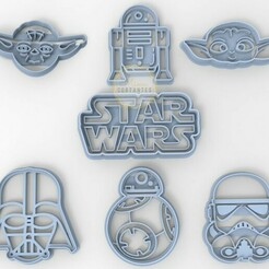untitled.29.jpg Download STL file Star Wars Cookie Cutters: Baby Yoda - Stormtrooper - BB8 - R2 D2 -DarthBader • 3D printer template, mimacortantes