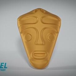 1edit.jpg Download STL file South American indigenous mask for wall pack. • 3D printable design, Voxeldyf