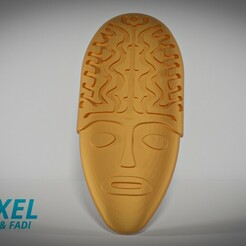 4edit.jpg Download STL file South American indigenous mask for wall 04. • 3D printable template, Voxeldyf