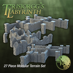 Stone Walls Full Group_00105.png Download STL file Stone Walls Modular Terrain Complete Set • 3D print template, SyncRatioSystems