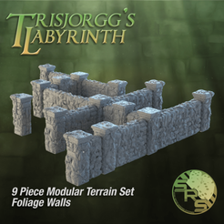 Stone Walls Foliage Group Solo_01425.png Download STL file Foliage Stone Walls Modular Terrain Set • 3D print model, SyncRatioSystems