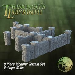 Stone Walls Foliage Group Solo_01425.png Télécharger fichier STL Murs de pierre feuillus Ensemble de terrains modulaires • Modèle pour imprimante 3D, SyncRatioSystems