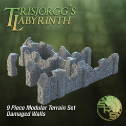 Stone Walls Damaged Group Solo_00765.png Download STL file Damaged Stone Walls Modular Terrain Set • 3D print model, SyncRatioSystems