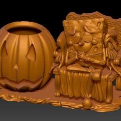 SpongeBob Allhallowtide 海綿寶寶 A3.jpg Télécharger fichier STL Bob l'éponge Porte-stylo allhallowtide • Modèle à imprimer en 3D, KEVIN88-Coke