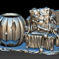 SpongeBob Allhallowtide 海綿寶寶 A1.jpg Download STL file SpongeBob Allhallowtide Pen holder • 3D print template, KEVIN88-Coke