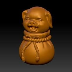 福袋-豬擺件1-4.jpg Télécharger fichier STL Sac porte-bonheur mignon ornement de cochon porte-bonheur • Objet imprimable en 3D, KEVIN88-Coke