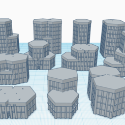 00Hexcitysample1.png Télécharger fichier STL 14 bâtiments Mechwarrior / Battletech Hex-based City Set • Plan pour impression 3D, Easy3Dterrain