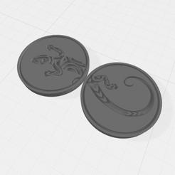 HeadTailsLizard.png Download free STL file Lizard coin / token • 3D printing design, Easy3Dterrain