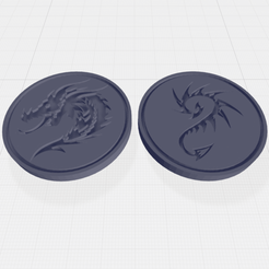 HeadsTailsDragon.png Download free STL file Dragon head(s) / Dragon tail(s) themed flip coin • 3D print model, Easy3Dterrain