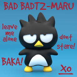 Badtz-Maru Instagram (Coloured).png Download free STL file Bad Badzt-Maru バッドばつ丸 • 3D printing template, samuelwhitby