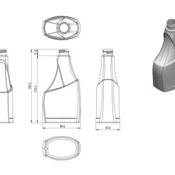 Glass cleaner A 500 HDPE 2d image.JPG Download STL file Glass cleaner bottle 500 HDPE • 3D printing template, awieyo