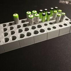 IMG_20210110_213626.jpg Télécharger fichier STL gratuit Support modulable batteries AA et AAA • Modèle à imprimer en 3D, Poloch86