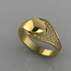 741.jpg Download STL file gold diamond ring • 3D print template, Neel6462