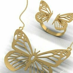 748.jpg Download 3DS file butterfly ring pendant • 3D print object, Neel6462