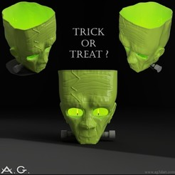 20201016_123249.jpg Download free STL file Halloween - 3D Franky Tealight Holder_ Just 3D Print! • Model to 3D print, andygomez3dart