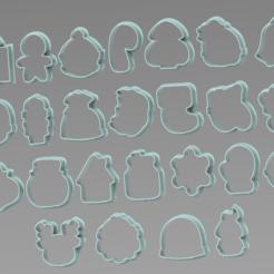 25 MINIS.PNG Download STL file SET 25 MINI CHRISTMAS CUTTERS • 3D printable design, ideas3djrz