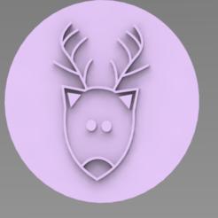 RENOS.PNG Download STL file WATERCOLOR REINDEER STAMP • 3D printable template, ideas3djrz