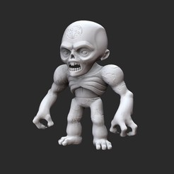 ZombieTier1White.jpg Download STL file Zombie  Doom Collectable Toy • 3D printer template, TheSTLSmith