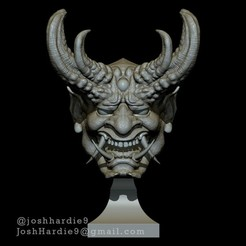 Front.jpg Download STL file Oni Demon Head Bust • 3D printable template, joshhardie9